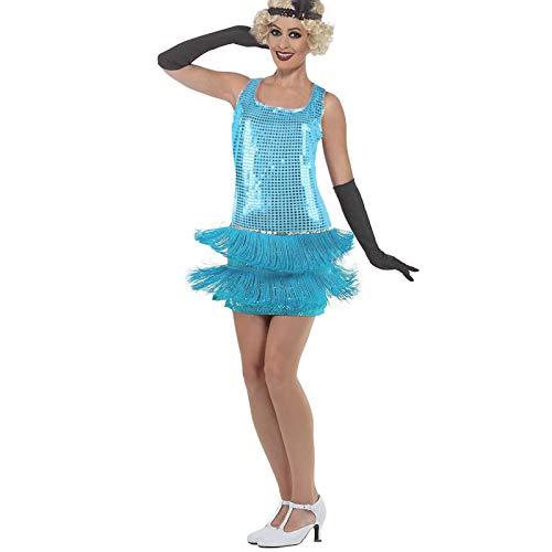 Women's 1920s 20s Flapper Dress Crystal Sequin Gatsby Flirtatious Tassel Sway Cocktail Costume (Blue, - Cast Chiminea Gatsby Aluminum