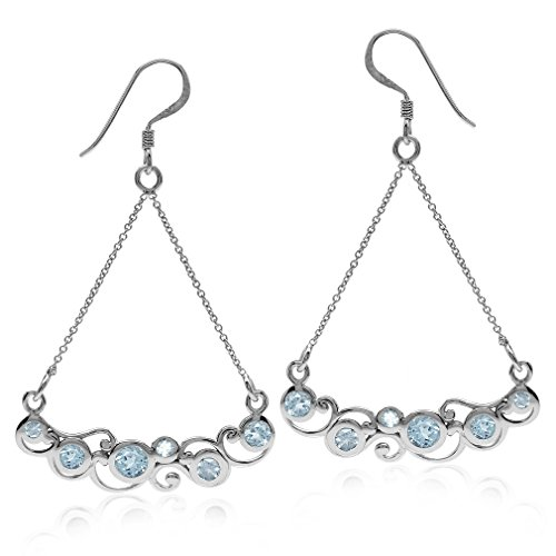 - 1.62ct Genuine Blue Topaz White Gold Plated 925 Sterling Silver Swirl & Spiral Chain Dangle Earrings