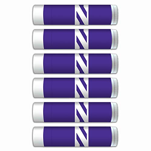 NCAA Northwestern Wildcats Premium Lip Balm 6-Pack Featuring SPF 15, Beeswax, Coconut Oil, Aloe Vera, Vitamin E. NCAA Gifts for Men and Women, Mother's Day, Fathers Day, Easter, Stocking Stuffers