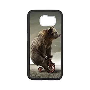 Samsung Galaxy S6 Cases Funny Tricycle Bear, Vety, [White]