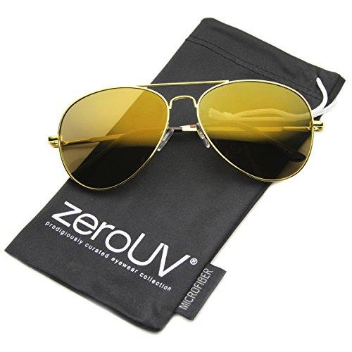 zeroUV - Mirrored Aviator Sunglasses for Men Women Military Sunglasses ()