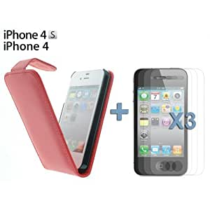 OnlineBestDigital - Premium Leatherette Wallet Stand Case for Apple iPhone 4S / Apple iPhone 4 - Red with 3 Screen Protectors