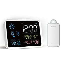 IGERESS Multifunctional Weather Station with Indoor and Outdoor Wireless Sensor Barometers Thermometer Hygrometer Weather Forecast Monitoring Alarm Clock Function