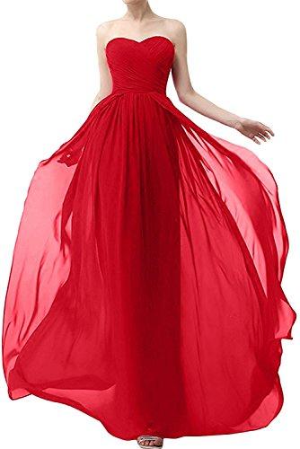 Abendkleider Rot Ballkleider Linie Braut La Lang Rock Brautjungfernkleider Chiffon A Rot Jugendweihe mia Herrlich Kleider 6YCqX
