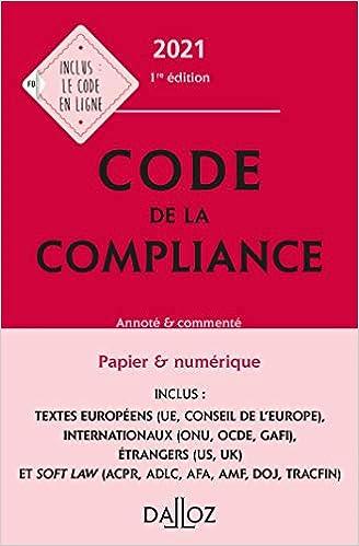Book's Cover of Code de la compliance 2021, annoté et commenté (Français) Broché – 16 septembre 2020