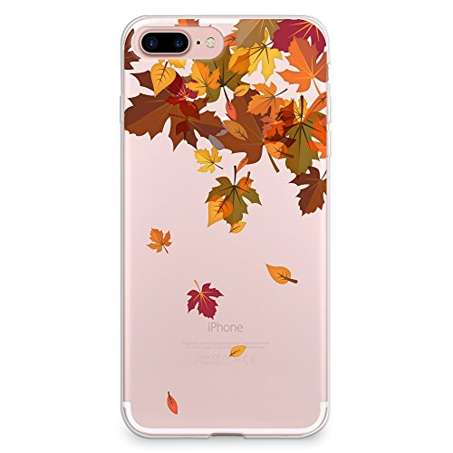CasesByLorraine iPhone 8 Plus Case, iPhone 7 Plus Case, Autumn Leaves Pattern Clear Transparent Case Flexible TPU Soft Gel Protective Cover for Apple iPhone 7 Plus & iPhone 8 Plus (Autumn Leaves Pattern)