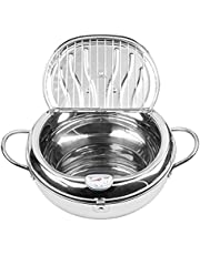 Stainless Steel Deep Fryer, 9.5 Inch 304 Stainless Steel Tempura Fryer with Thermometer, Lid Japanese Style Tempura Fryer Pan Uncoated Fryer, Tempura Frying Pot for Kitchen Cooking