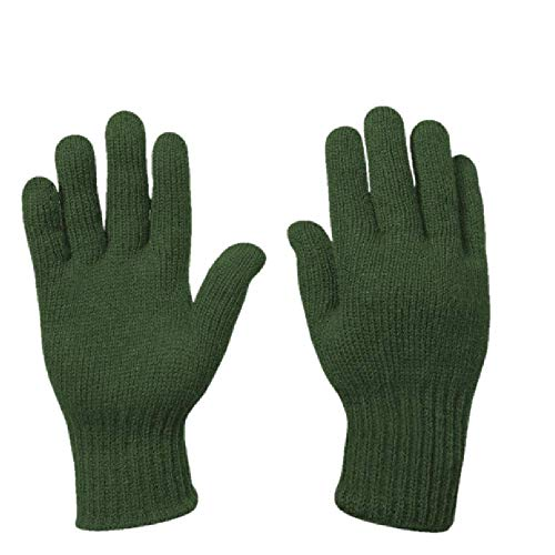 Warm Winter Wool Gloves, GI Military Glove Liners, Olive Drab, Large