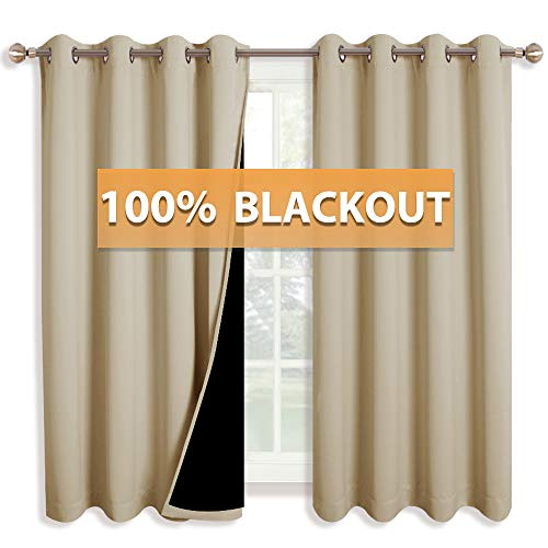 RYB HOME 100% Blackout Curtains Living Room