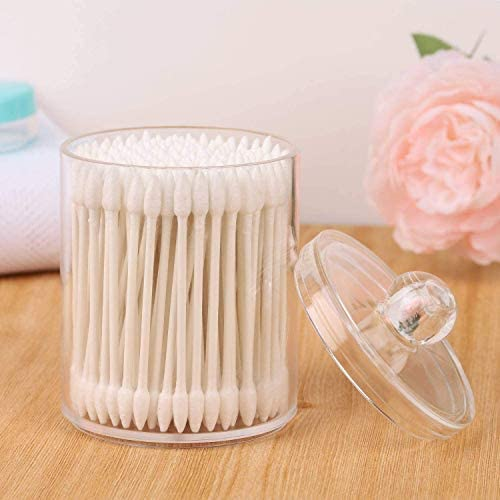 yarlung 4 Pack Clear Plastic Cotton Swab Holder with Lid, Makeup Organizer Bathroom Containers Apothecary Jar for Makeup Sponges, Hair Band, Cotton Swabs and Balls, Qtips, Bath Salts