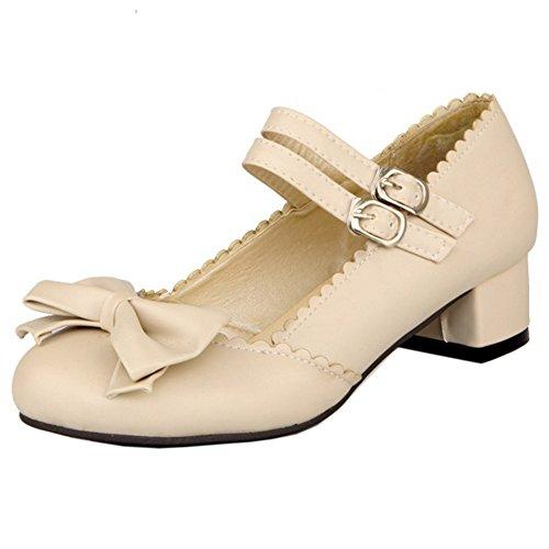 COOLCEPT Zapatos Moda Al Tobillo Dedo Del Pie Cerrado Bombas Zapato Tacon Ancho With Bowtie Mujer Beige