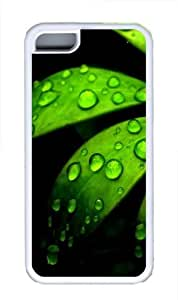 Green Flower TPU Silicone Case Cover for iPhone 5C White