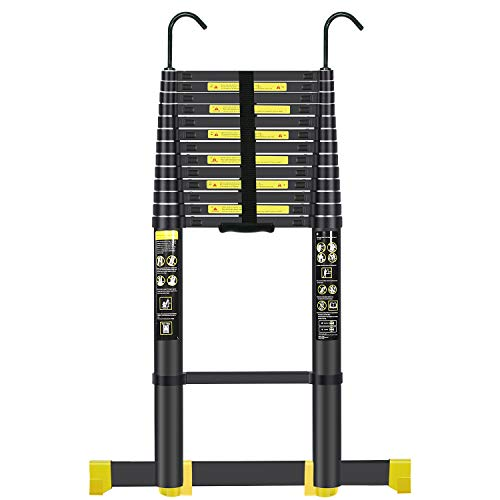 Handvoll Telescoping Ladder 17.5ft Aluminum Extension Folding Ladder, Portable Heavy Duty Multi-Purpose Telescopic Ladder with Slip-Proof Feet(Black) ...