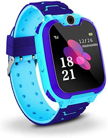 Kids Smart Watch Phone, Music Smart Wrist Watch for 3-12 Year Old Boys Girls with Camera Sim Card Slot Touch Screen Game watch Outdoor Activities Toys Childrens Day Gift Blue