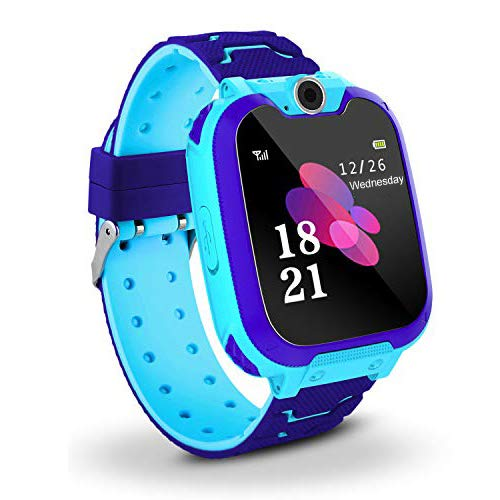 Kids Smart Watch Phone, Music Smart Wrist Watch for 3-12 Year Old Boys Girls with Camera Sim Card Slot Touch Screen Game watch Outdoor Activities Toys Childrens Day Gift (Blue)