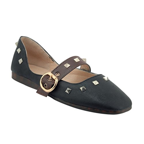 YOUJIA Womens Spring Mary-Jane Dolly Flats Pumps Rivet Buckle Metal Square-Toe Casual Slip On Shoes Black yCuoH