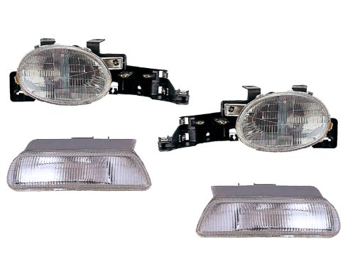 Headlights Depot Replacement for Dodge Neon/Plymouth Neon New 4-Piece Headlamps Set Headlights Pair HeadlightsDepot CH2531102 CH2530102