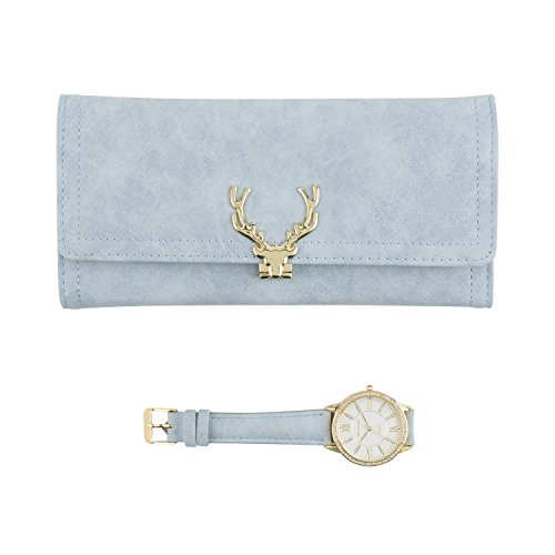 Women's Gold Watch with Crystal Bling on The Bezel & Matching Baby Blue Wallet Gift Set