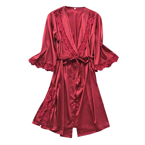Women's Solid Color Sexy Pajamas Underwear Lace Temptation Underwear Nightdress Jacket Belt Home Service Doll Dress Red