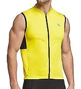 BALEAF Men's Sleeveless Cycling Jersey Road Bike Shirt Bicycle Full Zip Running Tank Tops Pocket ...