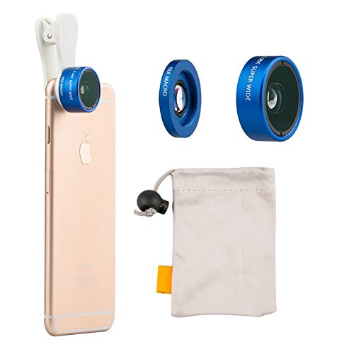 HONGYU Universal 2 in 1 Professional HD Camera Lens Kit 0.36x Super Wide Angle Lens +15x Super Macro Lens for Iphone 6 / 6S / 6 Plus / 5s / 5 , Samsung Galaxy S6 / S5 , Smart Phone (Blue)