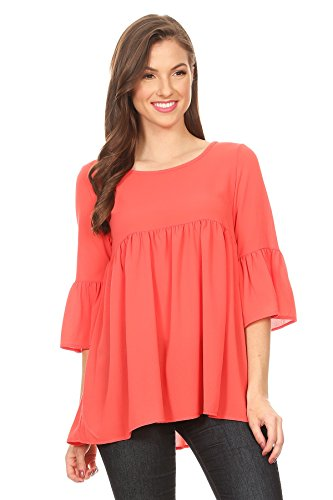 Casual bell sleeve Tunic Top,Solid and Floral Print/Made in USA Coral 3XL (Flutter Sleeve Tops Plus)