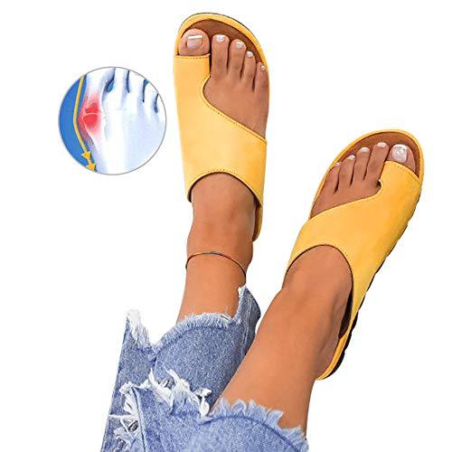 Athlefit Women's Comfy Bunion Shoes Platform Slipper Big Toe Slide Wedge Sandals Size 8 Yellow