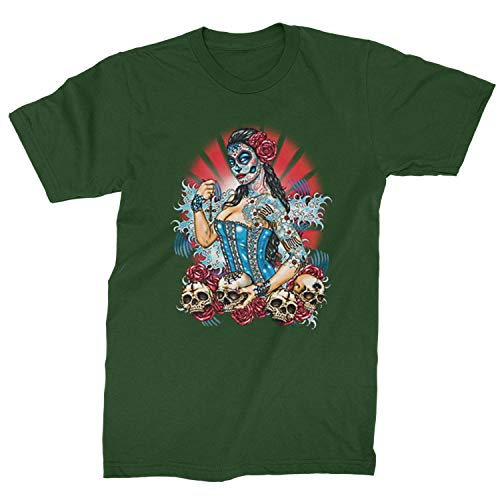 Mens Pinup Day of The Dead Skull Roses T-Shirt X-Large Forest Green -