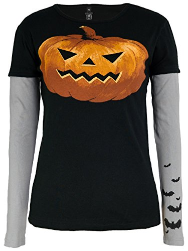 Green 3 Pumpkin Bat Double Sleeve Tee Shirt (Black) - 100% Organic Cotton Womens T Shirt, Made in The USA ()