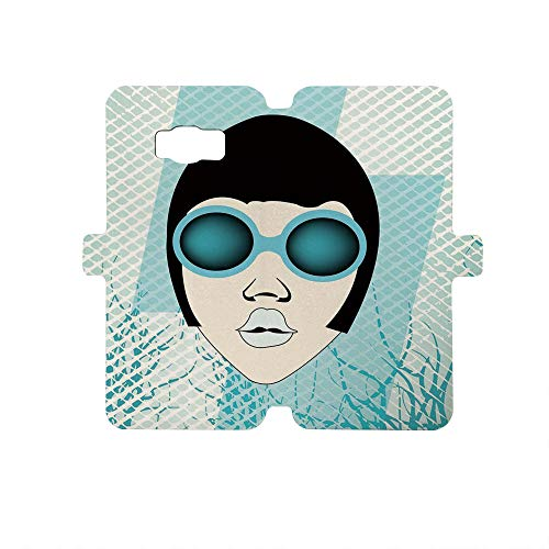 (Painted Galaxy S8 Case - Premium Protective Cover Phone Cases for Girls,Indie,Retro Woman Portrait with Vintage Sunglasses Short Hair Abstract Trees Decorative,Light Blue Black White)
