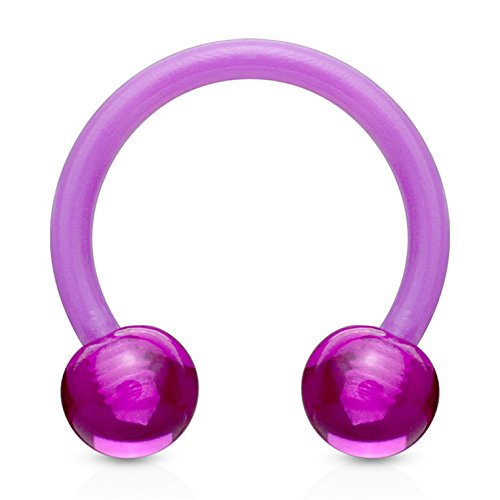 Purple Double Ball Horseshoe Rings Circular Barbells Made w/Flexible Acrylic - Sold in Pairs (14 Gauge 1/2