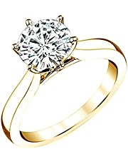 Jewel Zone US 14K Gold Over Sterling Silver 0.50 Carat Round Cut 6 Prong Moissanite Diamond Solitaire Ring