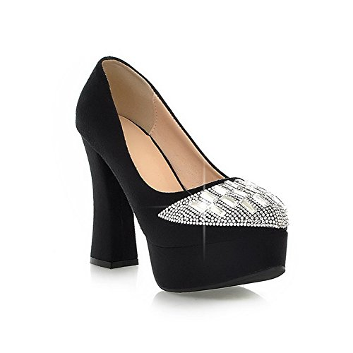 Vouge001 Womans Closed Toe Round Toe High Heel PU Frosted Solid Pumps with Rhinestones, Black, 3.5 UK