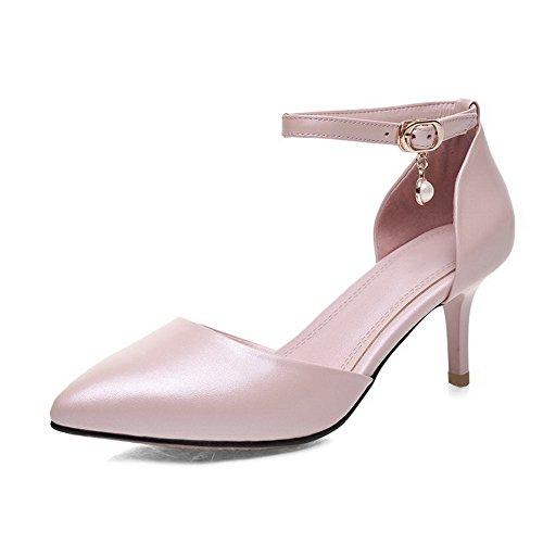 Amoonyfashion Womens Kattunge-häl Mjukt Material Fast Spänne Pekade Sandaletter Rosa