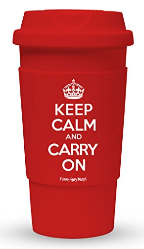 Funny Guy Mugs Keep Calm And Carry On Travel Tumbler With Removable Insulated Silicone Sleeve, Red, 16-Ounce