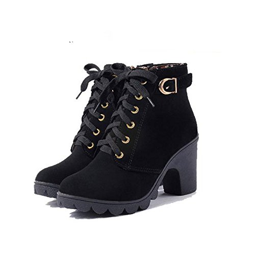 8 5 Pu Shoes Lace Boots Autumn Women Desirca Boots Shoes up Black Ladies Winter Leather wq1CO68O