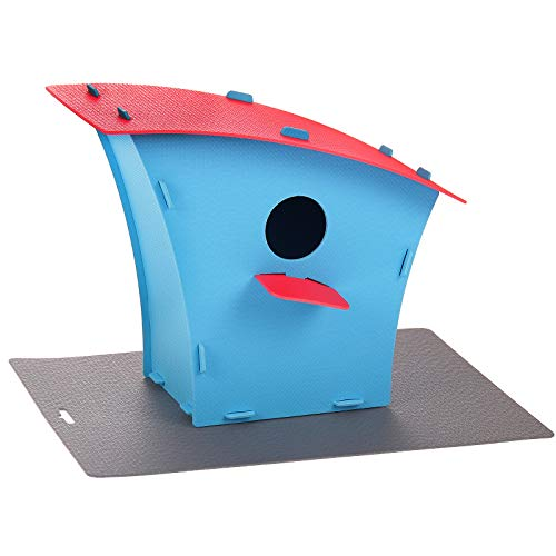Blue Red Plastic Bird House | Nesting Box & Garden Home Decoration | Outdoors Feeder Birds by Red Cube