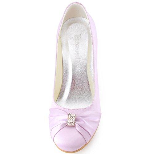ElegantPark EP2005 Mujer Satén Punta Chiusa Arcos Cuña El tacón alto Rhinestones Bombas Zapatos de Novia Lavanda