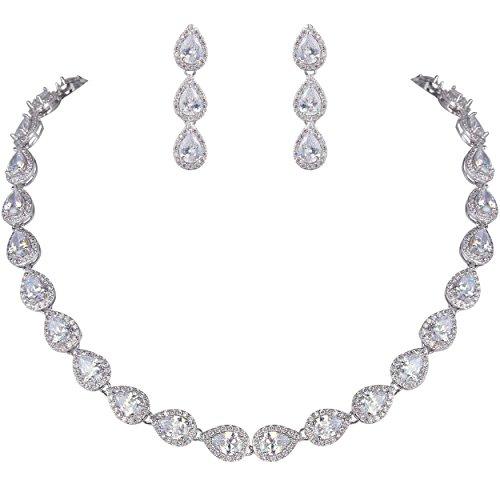 EVER FAITH Women's Full CZ Elegant Teardrop Bridal Necklace Earrings Set Clear ()