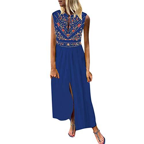 Summer Dress,Tronet Women Plus Size Bohemian O-Neck Floral Print Vintage Sleeveless Long Maxi Dress