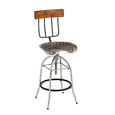 Cape Craftsmen Metal Pitchfork and Tractor Swivel Stool with Pine