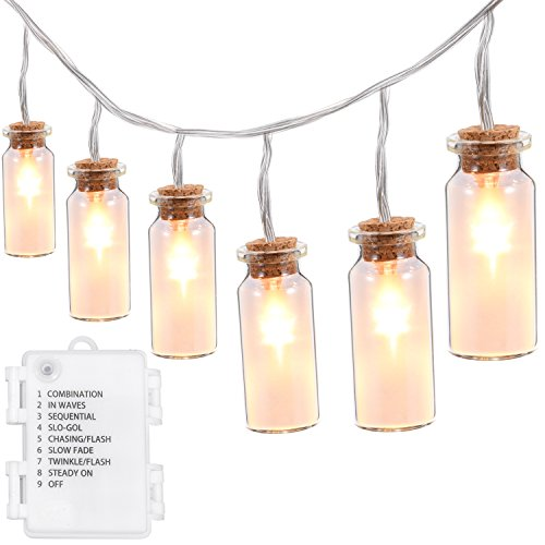 LED String Lights,Oak Leaf 9.8 ft 30 LEDs Warm White Vintage Clear Glass Jar LED Fairy Lights for Garden Patio Party Wedding,Battery Operated Lights,8 - Decor Vintage
