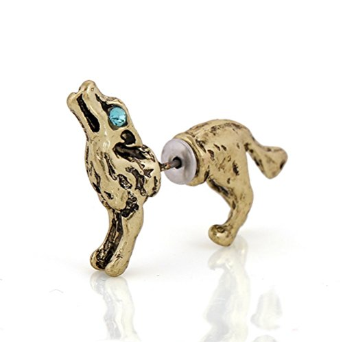 Winter's Secret Three-dimensional Wolf Bronze Color Single 3d Stud Earring