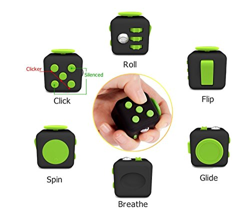 Fun Cube Relieves Stress And Anxiety Fidget Toy for Children and Adults (Black/Green) - 2