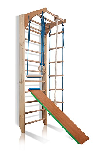 Wall Bars CM-03-220, 87 in Wooden Swedish Ladder Set: Adjustable Pull Up Bars, Rings, Trapeze, Plank, and Rope Ladder for Training and Physical Therapy - Used in Homes, Gyms, Clinic, and Schools