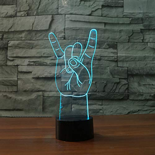 Zonxn 3D Metal Rock and Roll Gestures Led Nightlight Colorful Atmosphere Table Lamp Hiphop Lovers Xmas Gifts Bedroom Sleep Light ()