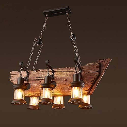 Joypeach 6 Heads Vintage Wooden Chandeliers,Retro Industrial Style Chandeliers for Dining Rooms,Chandeliers for Living Room (110V)