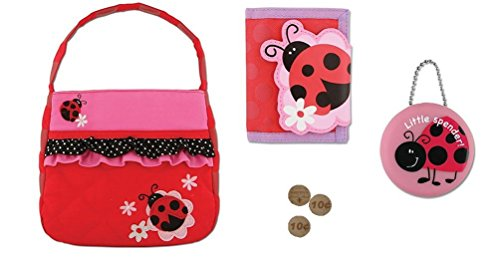 Stephen Joseph Girls Quilted Purse, Wallet, Coin 4 Pc Set, -