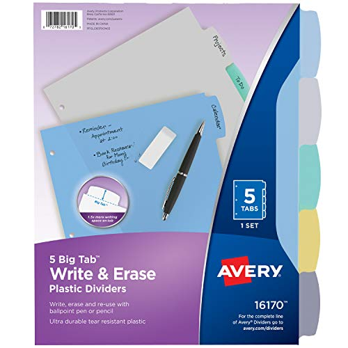 Avery 5-Tab Plastic Binder Dividers, Write & Erase Multicolor Big Tabs, 1 Set (16170)