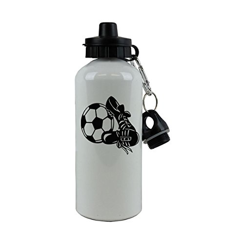 Personalized Custom Soccer Aluminum White Finish 20 Ounce 600ML Sport Water Bottle Customizable (Black) by CustomGiftsNow